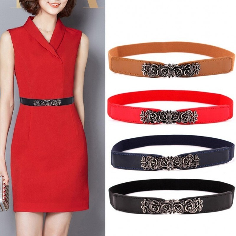 Thin Belts For Women Ladies Fashion Designer PU Leather Elastic Waist Belt Dress Waistband Female Jeans Luxury Brand Accessories