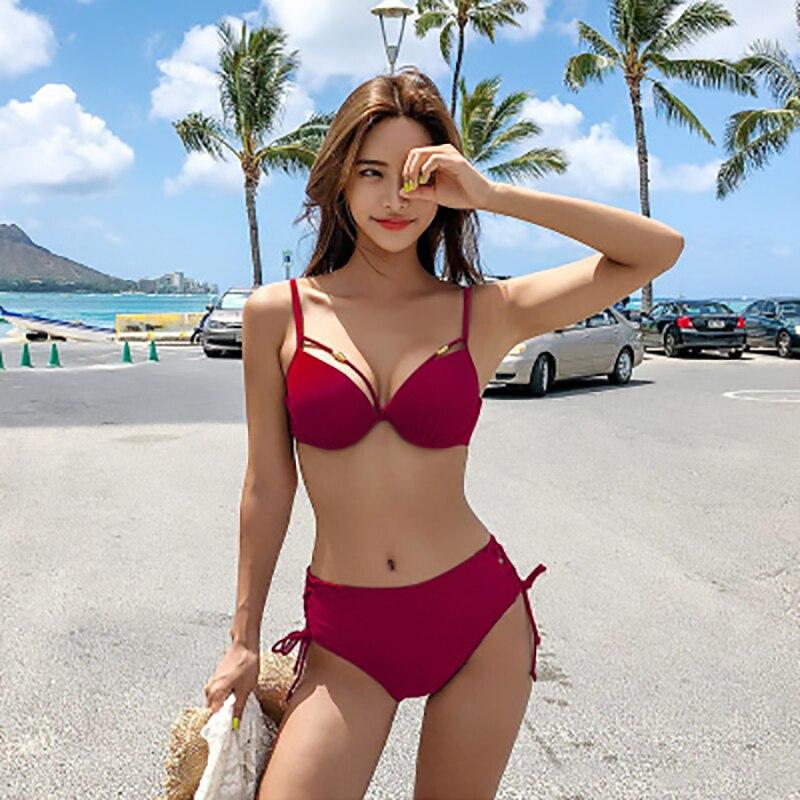 bikini 2019 Womens sexy swimsuit Bikini Set Underwire women swimwear pink black separate set