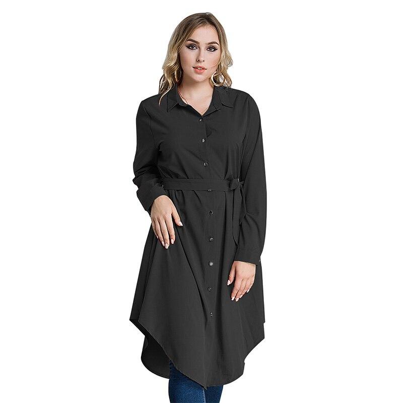 Gran tamaño 2017 otoño Color sólido manga larga camisa musulmana vestido medio ropa oriental Malasia mujeres vestidos de talla grande