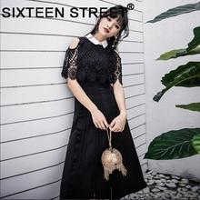 Vintage Cloak Mouwen Runway Dress Vrouw Zwart Beige Lace Hollow Out Mid Vestidos Party Street Nieuwe Zomer Lente Mid Dreses