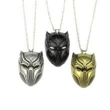 New Black Panther Necklace Wakanda King TChalla Movie Souvenir Civil War SuperheroBlack Cosplay Mask Pendants Necklaces
