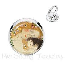 Moeders Dag Ringen Gustav Klimt De Kus Art Sieraden Golden-Plated 2 Kleur Verstelbare Ring Gift Voor Vrienden