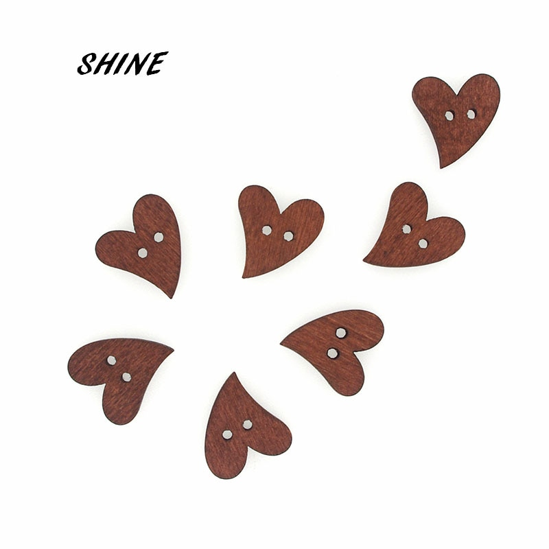 SHINE 50PCs Wooden Sewing Buttons Scrapbooking Heart Costura Botones Decorate bottoni botoes 20x18mm