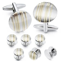 hawson classic mental round shape mens cufflinks and studs set for men for tuxedo luxury gift for party shirt cuff links