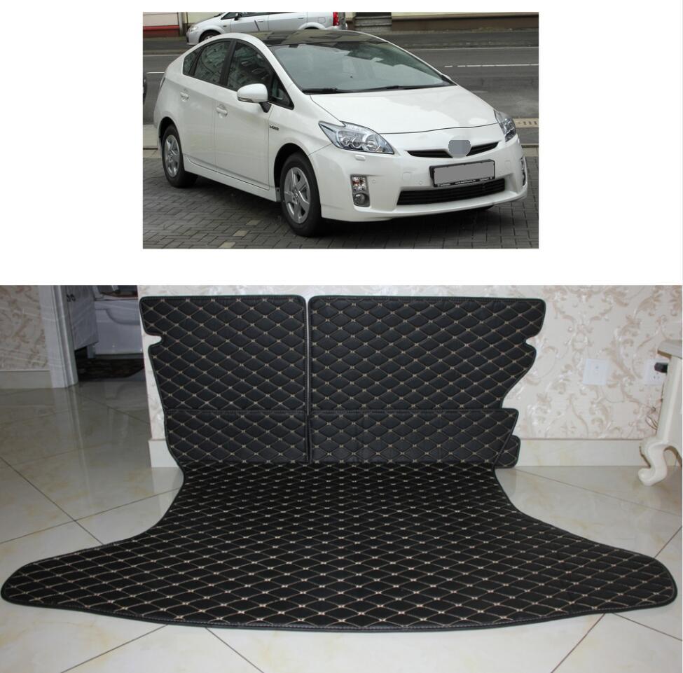 En cuir de fibre de tapis de coffre de voiture pour toyota prius 2009 2010 2011 2012 2013 2014 2015 zw30 accessoires de voiture