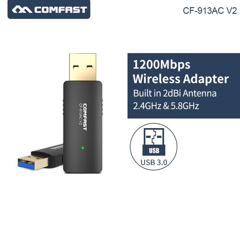 COMFAST CF-913ACV2 2,4G/5,8 GHz doble banda USB3.0 1200Mbps pc inalámbrico/WiFi AC gigabit...