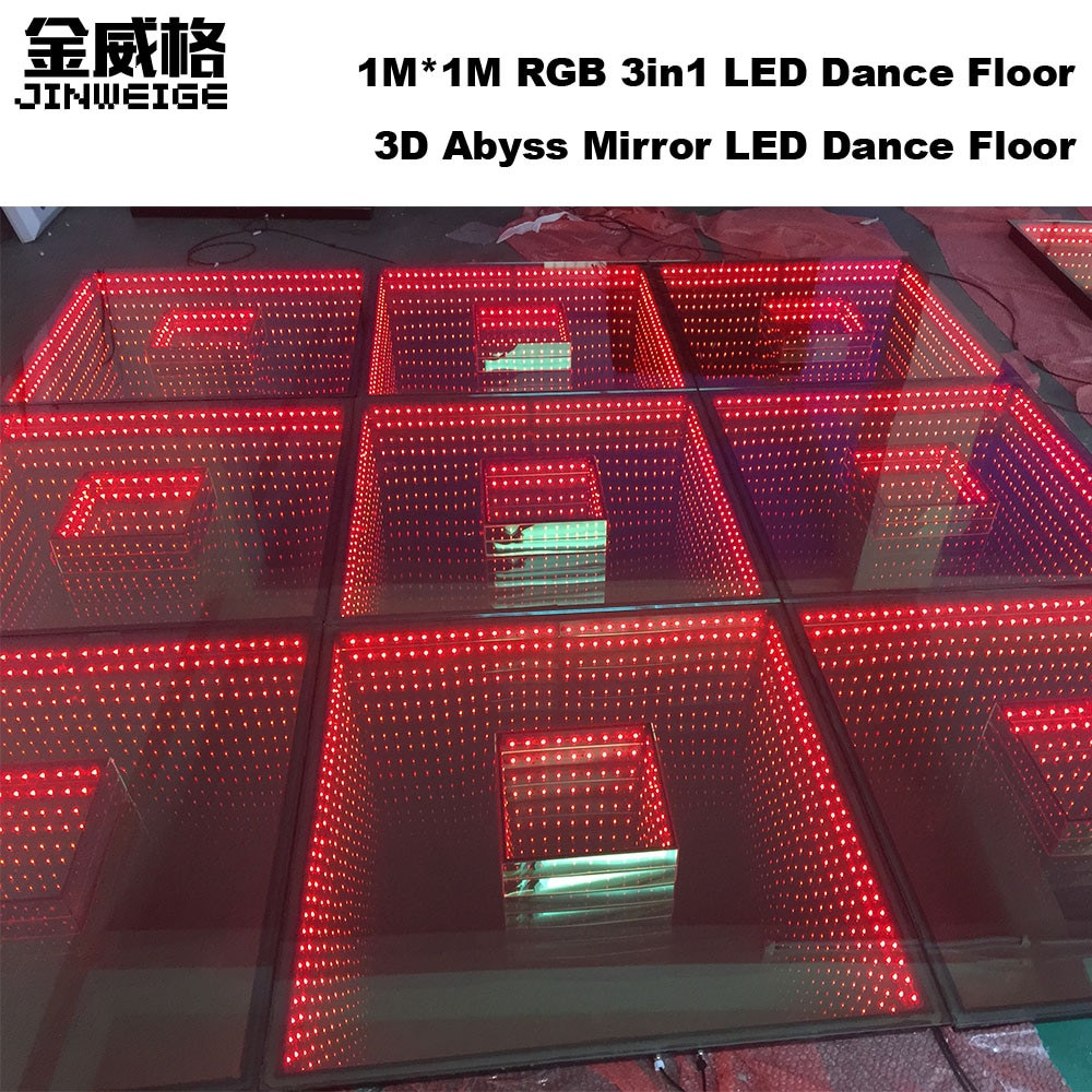 1M x 1M RGB 3 en 1 3D Abyss pista de baile, TimeTunnel DMX SD Control pista de baile, escenario Led, espejo de vidrio templado