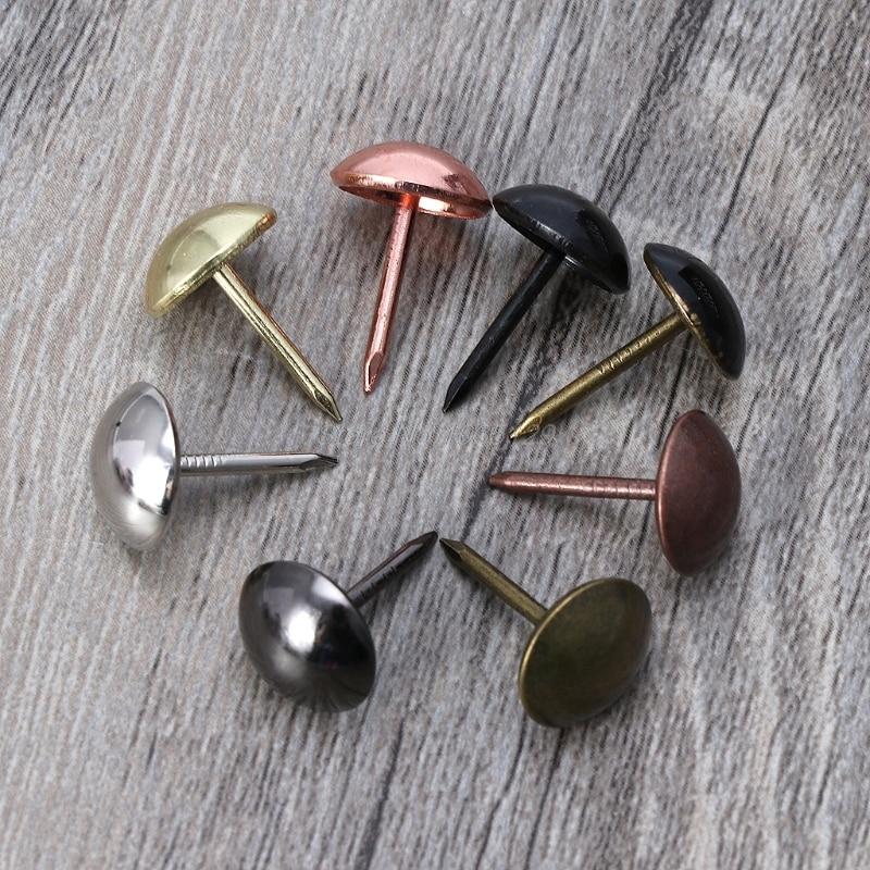 100pcs Antique Brass Upholstery Nails Furniture Tacks Pushpins Hardware Decor Whosale&DropShip
