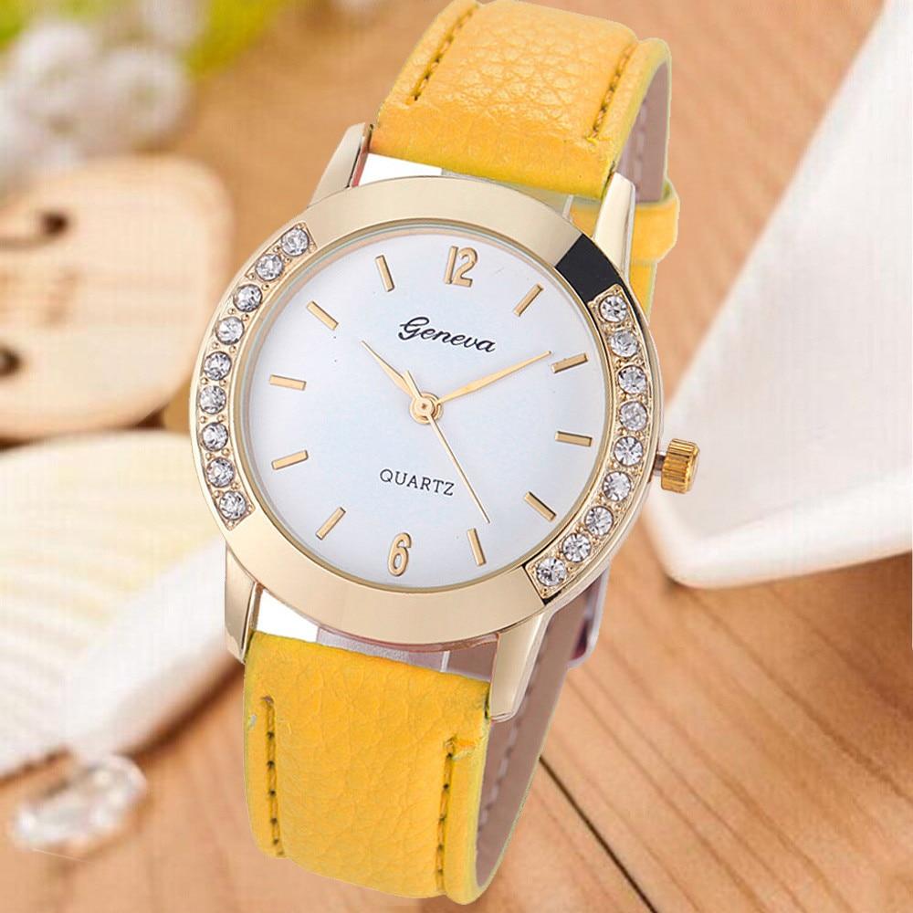 Fashion Geneva Women Reloj hombre Diamond Digital dial Leather Band Quartz Wrist Watches Ladies Clock Alloy Vogue Analog hourB50