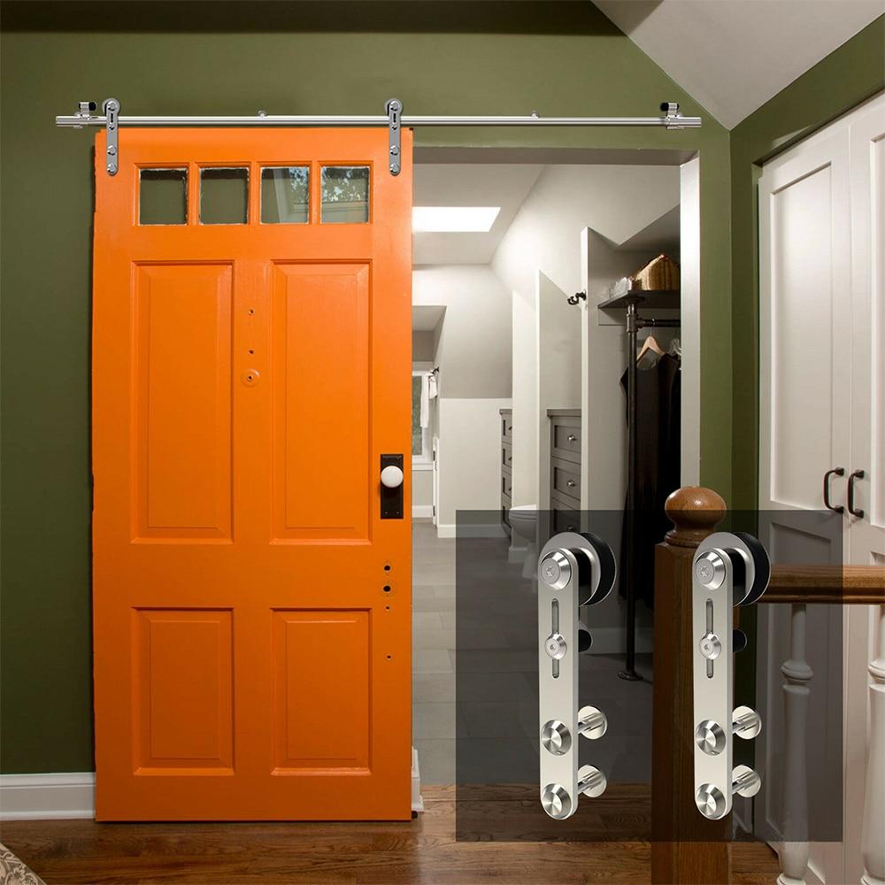 LWZH 4-9,6 фута круглая Серебристая нержавеющая сталь, деревянная и стеклянная фурнитура для раздвижных дверей, комплект для одной двери