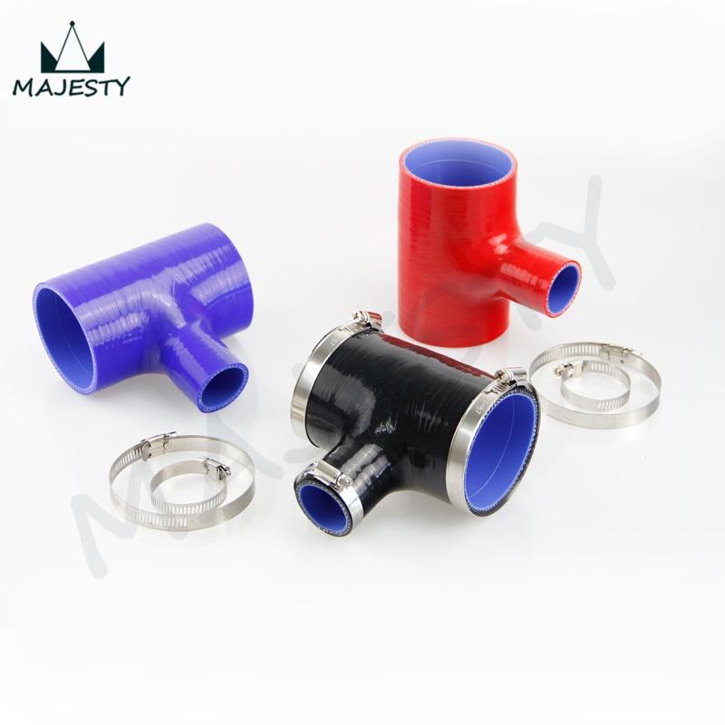 "Mangueira de silicone 2.5 "" - 2.5"" t piece (63mm a 63mm) tubo de forma + t para 35mm id bov 3 + grampos preto"