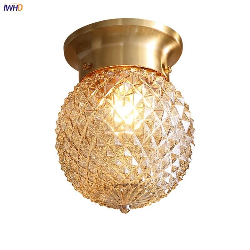 IWHD, luces LED De Techo De cristal Vintage para cocina, pasillo, balcón, cobre, lámpara De Techo, Plafonnier, lámparas LED De Techo