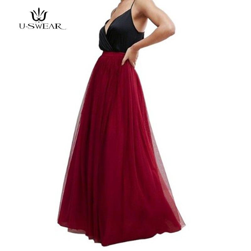 Saia longa feminina de tule, plus size, casamento, dama de honra, outono, U-SWEAR