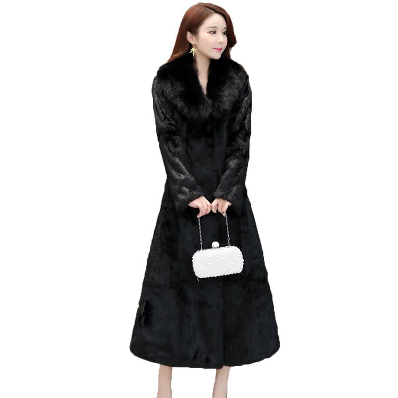Женское длинное пальто на кроличьем меху, теплая Модная Шуба на кроличьем меху с воротником из натурального Лисьего меха на осень и зиму