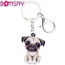 Bonsny acrylique Cartoon belle bouledogue français carlin chien porte-clés bijoux pour femmes fille dames sac à main breloques enfants cadeau