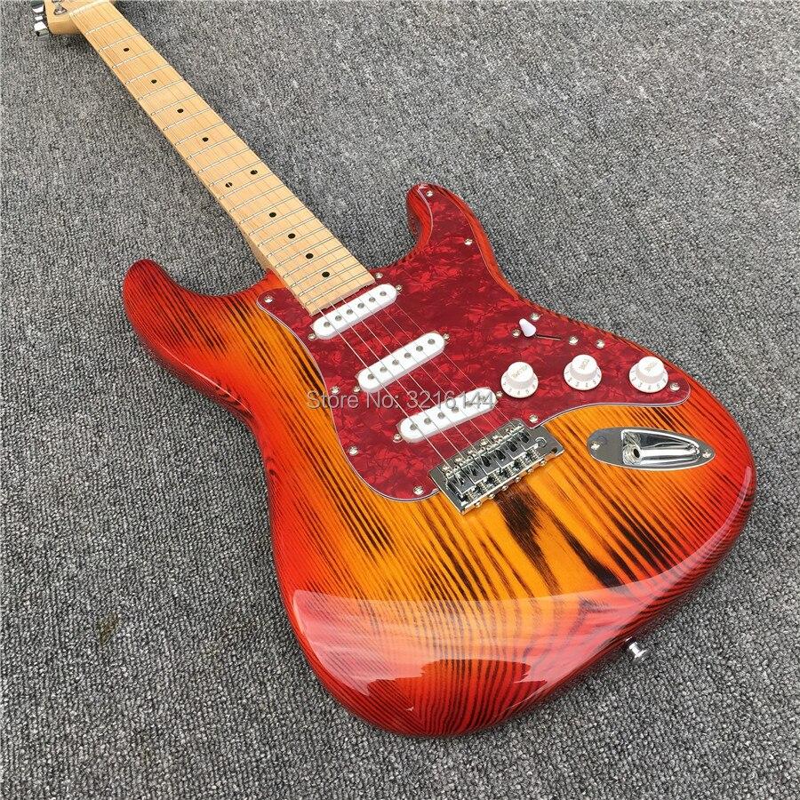 Guitarra eléctrica de carbonización de ceniza del norte de China de alta calidad, roja todos los colores pueden ser, puede modificar la aduana. De Madera de ceniza