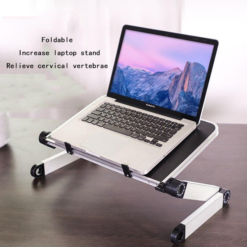 Escritorio portátil ajustable, de aluminio, ergonómico, para TV, cama, portátil, bandeja para ordenador portátil, soporte de mesa para Notebook, soporte de escritorio con Mouse Pad