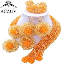 Aczuv mais recente ouro laranja ab cristal tradicional africano contas nigeriano colar conjuntos de jóias casamento c3f003