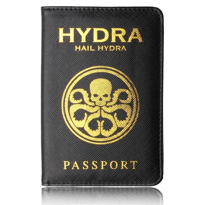 Funda HYDRA para pasaporte, tarjetero multifunción, funda para pasaporte, escolar, negra, piel sintética, porta pasaporte