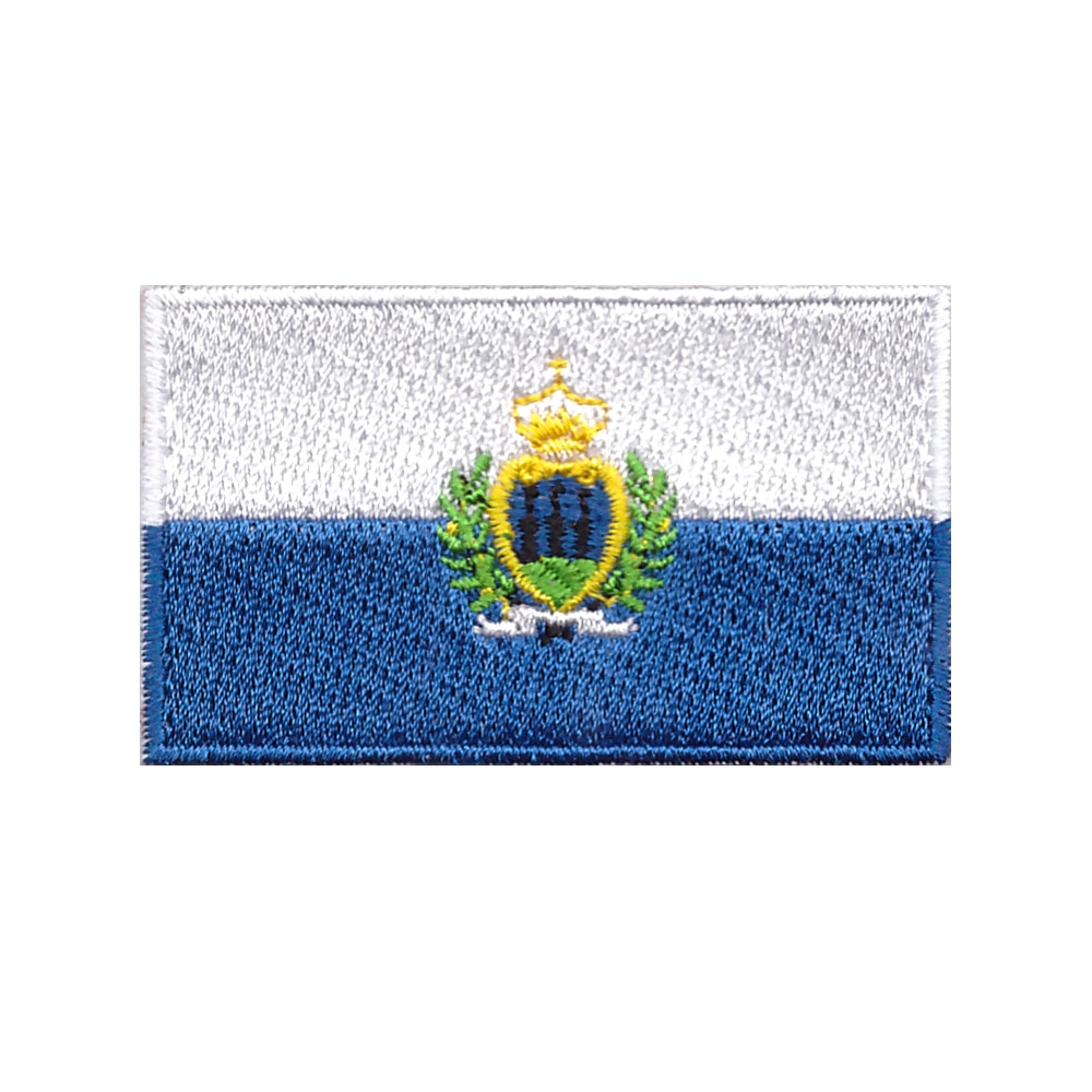Adecuado para todo tipo de ropa Bandera Nacional insignia parche bordado brazalete militar espalda tactica parches San Marino