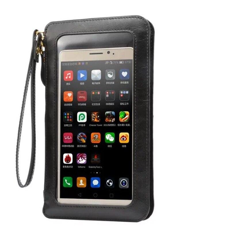 Caso de couro tela sensível ao toque pequeno ombro crossbody bolsa carteira saco para iphone 11 galaxy s9 plus note10 telefones wristlet embreagem
