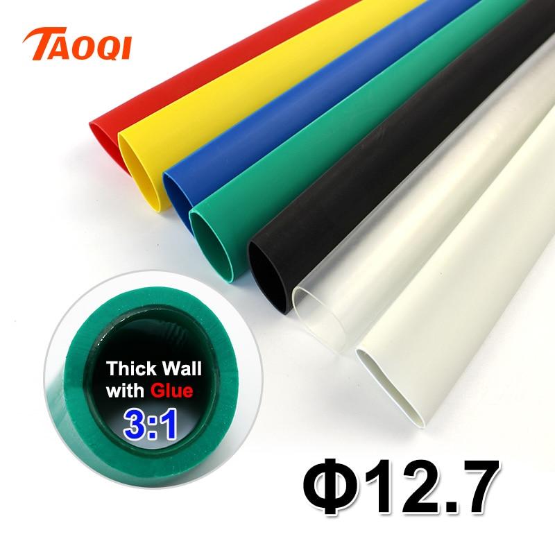 1,22 metros/lote Tubo termorretráctil 12,7mm adhesivo forrado 31 relación doble pared tubo con pegamento impermeable kit de envoltura de alambre Cable