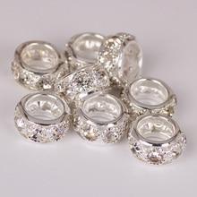 10 pièces 5 couleurs strass perles 10/12mm rond bricolage entretoise européen Murano tchèque perle breloque grand trou perles idéal pour bracelet à breloques