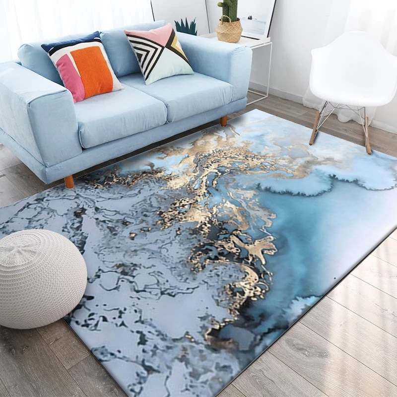 Azul nórdico de Creative Cloud alfombras para sala de estar dormitorio cabecera manta al aire libre oración piso de salón Mat Anti-Slip alfombras