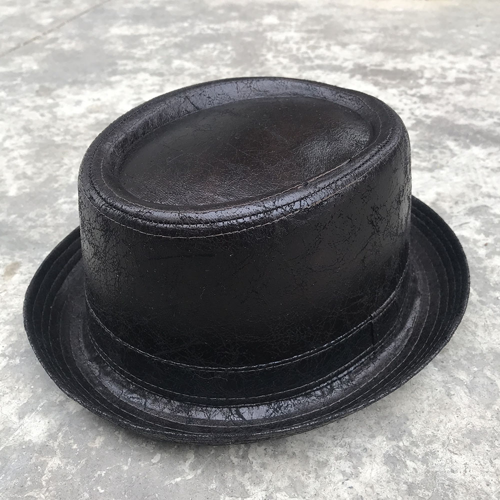 4 Big Size 100% Leather Pork Pie Hat For Dad Fedora Hat Men Boater Flat Jazz Hat For Gentleman Porkpie Top Dad Hats