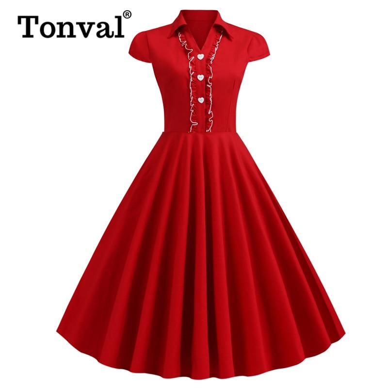 Tonval Ruffle Trim Turn Down Collar Red Retro Flared Dress Women Cap Sleeve Cotton Midi Elegant 50s Rockabilly Swing Dresses