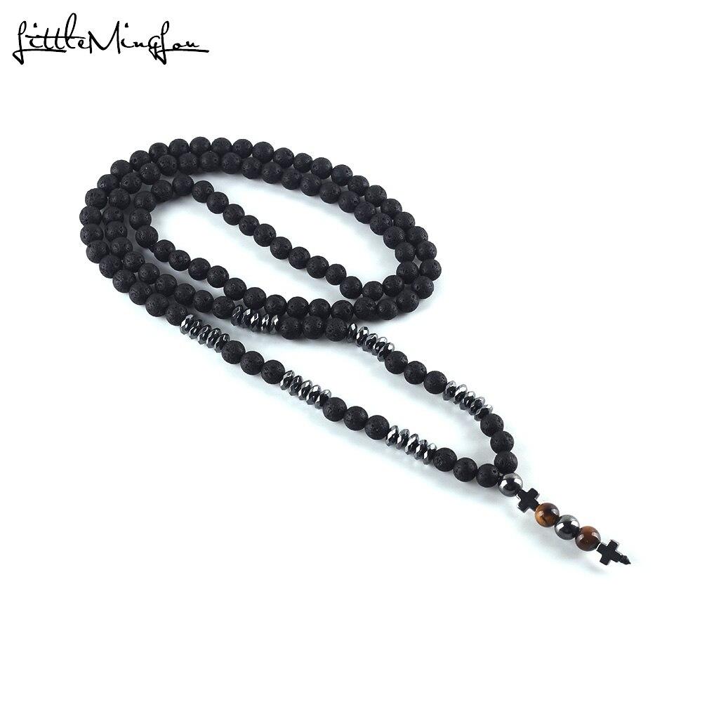 2019 lujo Piedra natural lava cuentas collar largo hombres negro hematita Cruz colgantes collar geometría Jesús joyería regalo