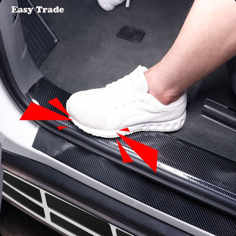 Estilismo de coche fibra de carbono Umbral de puerta de goma 5D pegatinas de coche Protector de mercancías para Skoda Kodiaq 2017 2018 2019 2020 Accesorios