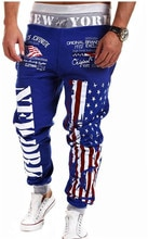 Mens Outwear Sweatpants New York American Flag Star Print Trousers Fashiom National Flag Printed Lace Pants Hip Hop Harem Pants