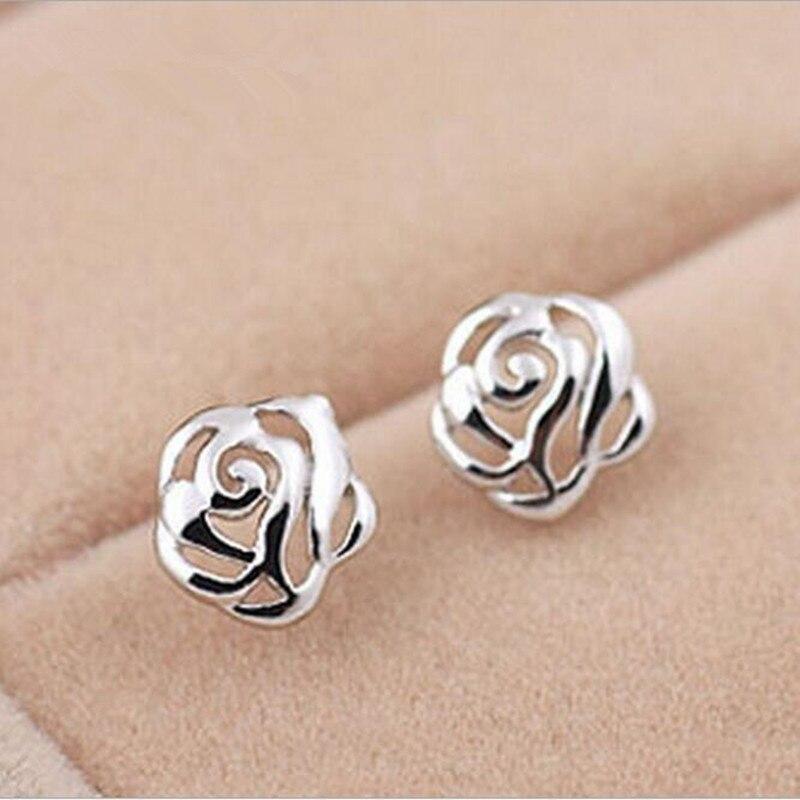 Бесплатная-доставка-Горячая-продажа-925-стерлингового-серебра-покрытые-новые-полые-розы-цветок-оптом-анти-аллергические-серьги-se42