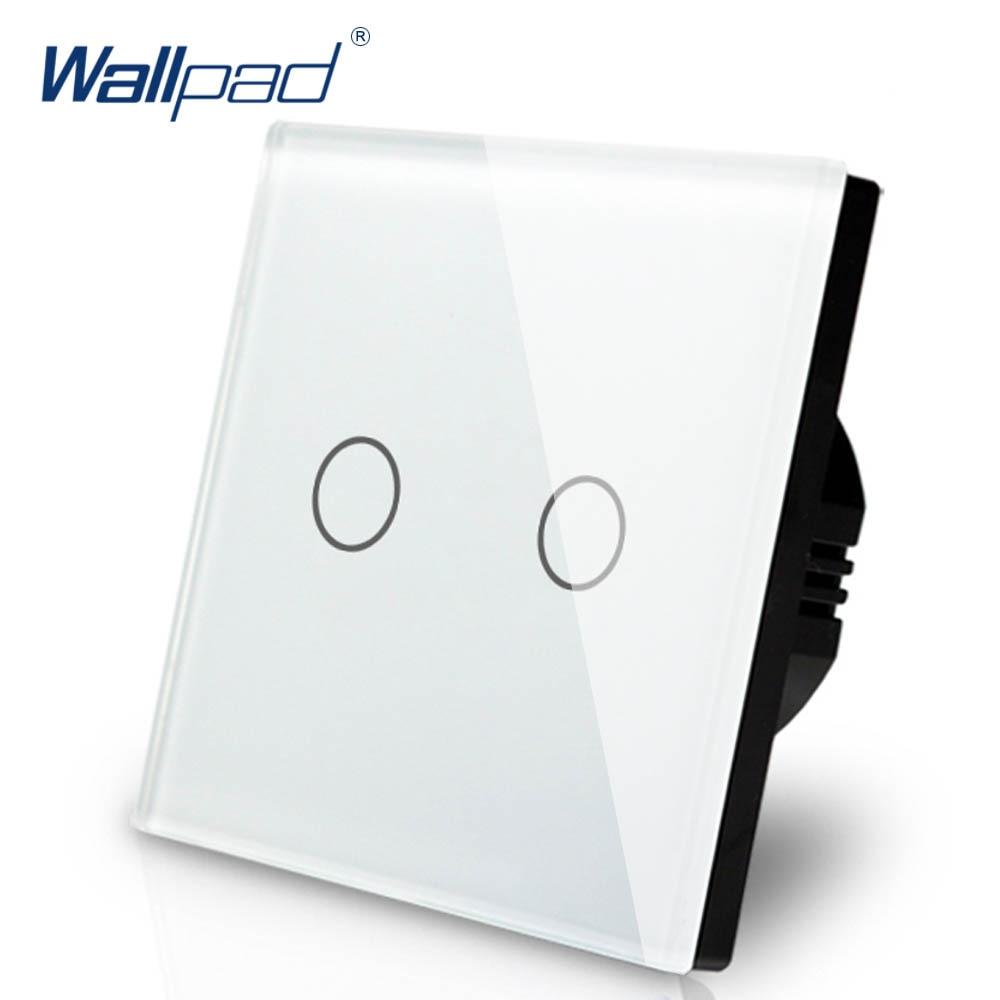 2 Gang Dimmer Schalter 1 Weg Wallpad Luxus Weiß Kristall Glas Wand Schalter Touch Schalter Normalen 110-250V europäischen Standard