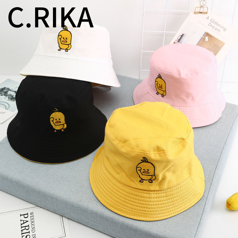 2019 Men Women Little Yellow Duck Two Side Bucket Hat Bob Boys Girls Fashion Hip Hop Summer Sun Visor Fisherman Hat Panama