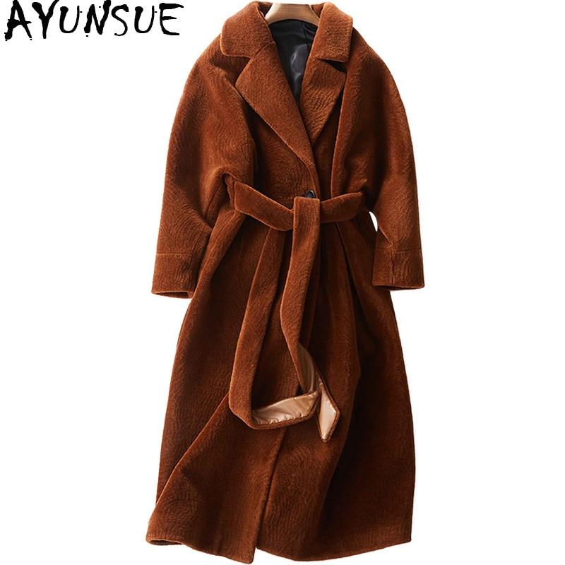 Abrigo de lana AYUNSUE 2018 para mujer, chaqueta de piel auténtica para mujer, abrigo largo de invierno cálido de piel de cordero, abrigo femenino WYQ780