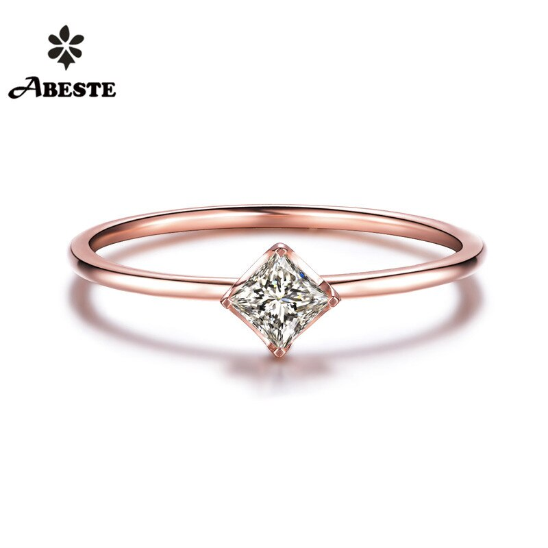 Anillo de boda para mujer ANI 18K blanco/amarillo/oro rosa (AU750) 0,1 CT H/SI certificado Anillo de compromiso de diamante corte princesa Natural