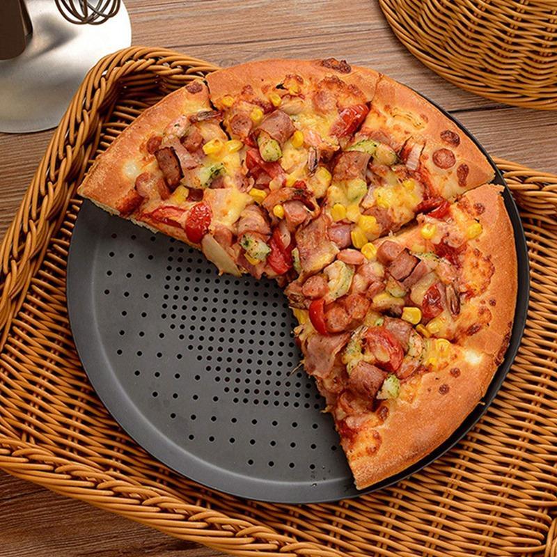 Bandeja para hornear pizzas antiadherente, bandeja de horno de Pizza con agujeros de acero redonda crujiente, bandeja perforada para hornear, herramienta de cocina