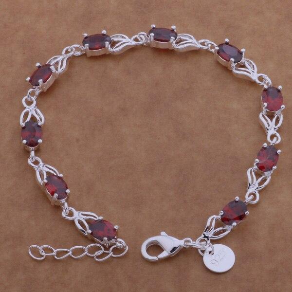 Pulsera de plata esterlina AH116, joyería de moda esterlina, tarjeta redonda con incrustaciones de piedra roja/algajcna aziajqpa color plata