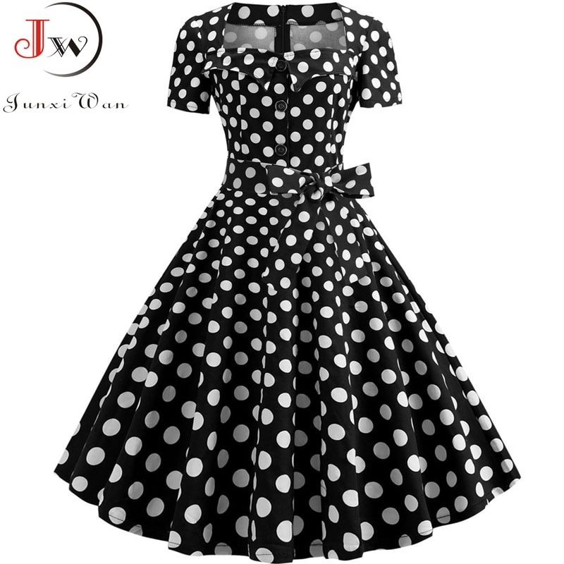Plus Size Women Vintage Dress Summer 50s 60s Retro Pin Up Swing Rockabilly Vestidos Elegant Black Polka Dot Office Party Dress