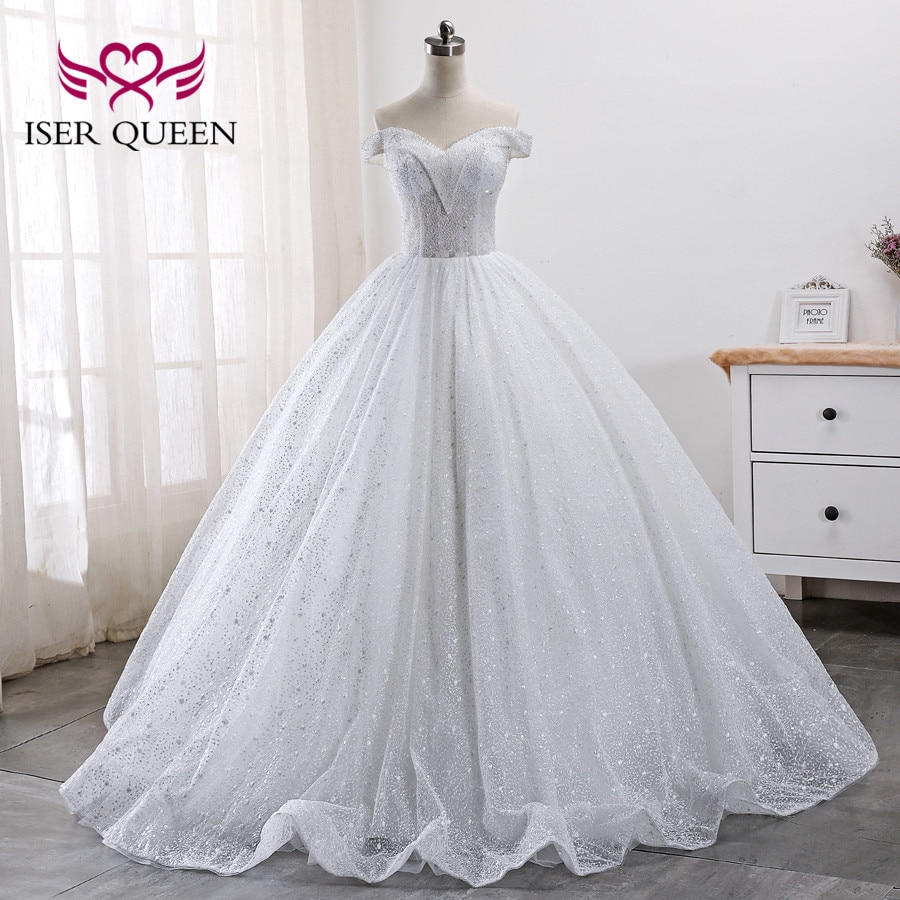 Heavy Crystal Beading lujo vestido de novia Dubái 2020 bola bata manga casquillo vestidos de boda de talla grande WX0010