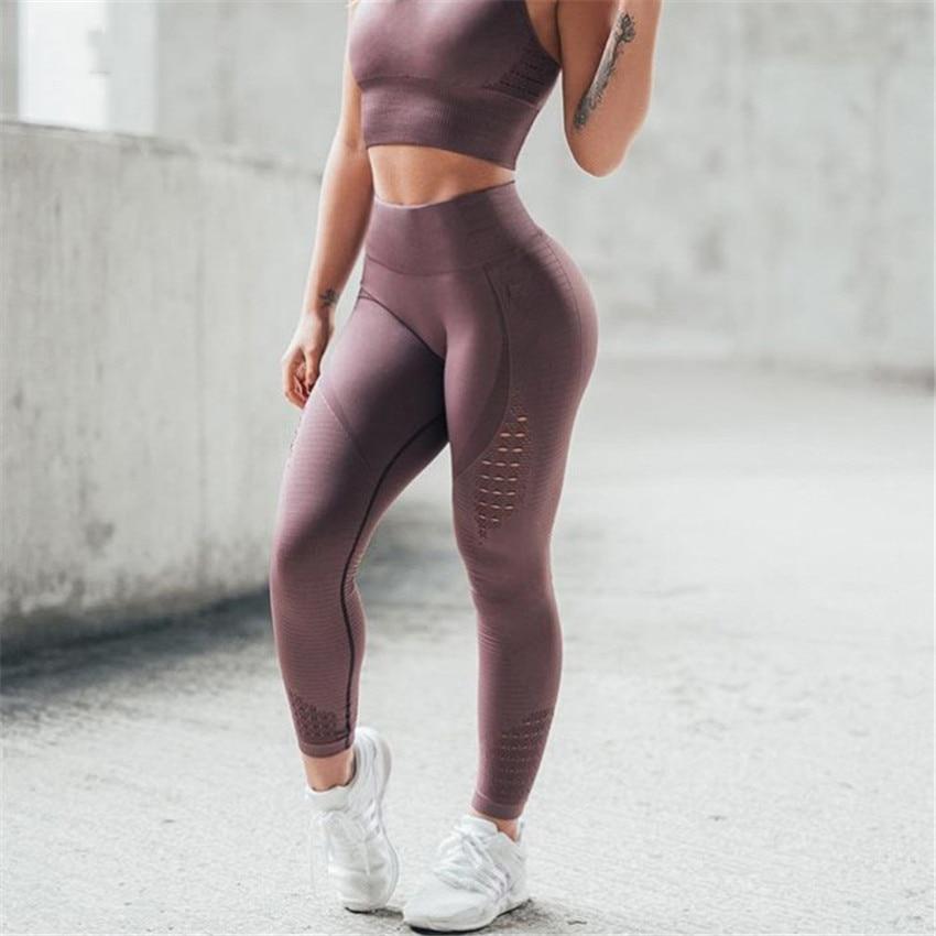 Polainas huecas Push Up Fitness Leggings de cintura alta de entrenamiento para mujeres Jeggings casuales sin costura 4 colores