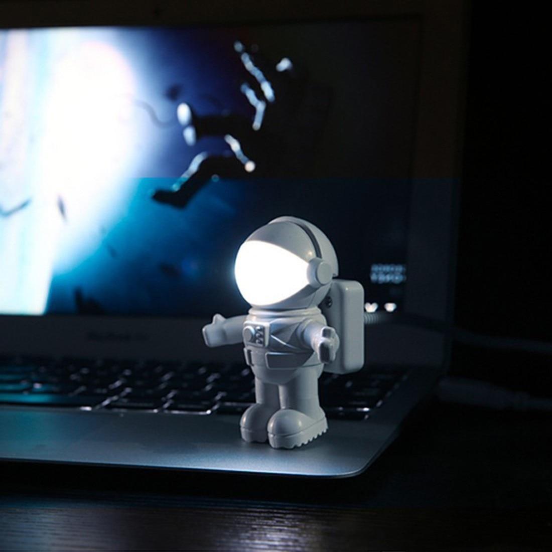 Luz de noche ajustable LED USB para ordenador PC lámpara de escritorio blanco puro nuevo estilo fresco nuevo astronauta hombre del espacio