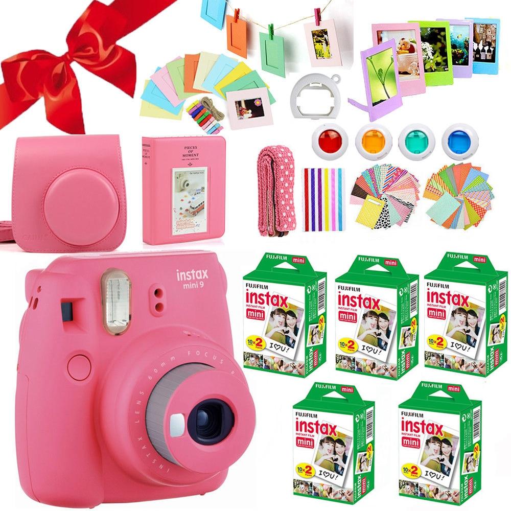 Fujifilm Instax Mini 9 Cámara flamenco rosa + Fuji 100 hoja instantánea Mini película blanca papel fotográfico + funda bolsa + Accesorios gratis