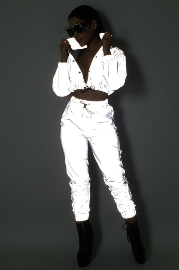 Reflektierende Zwei Stück Set Kordelzug Crop Top und Hosen Hip Hop Club Festival Outfit Trainingsanzug Jogger Anzug