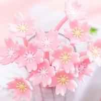 1pc cartoon flower gel pen cute cherry blossoms pen creative stationery kawaii black ink water pen office school supplies 0 38mm