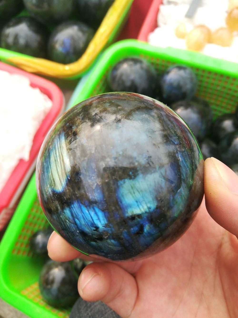 60mm NATURAL labradorite quartz crystal bola esfera cura + suporte