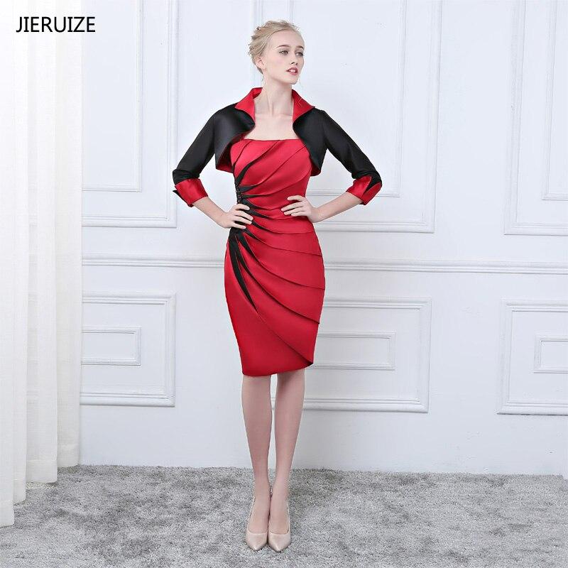 JIERUIZE vestidos de Madre de la novia rojo y negro con chaqueta 2018 longitud de rodilla vestidos de noche formales cortos Vestidos