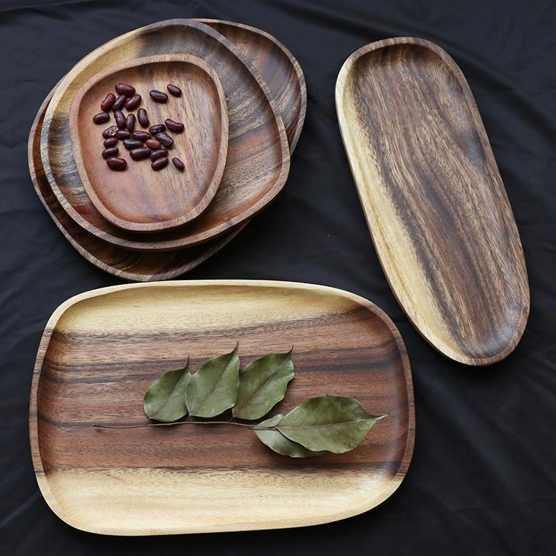 Whole Wood Irregular Oval Solid Wood Pan Plate Fruit Dishes Saucer Tea Tray Dessert Dinner Plate Tableware Set